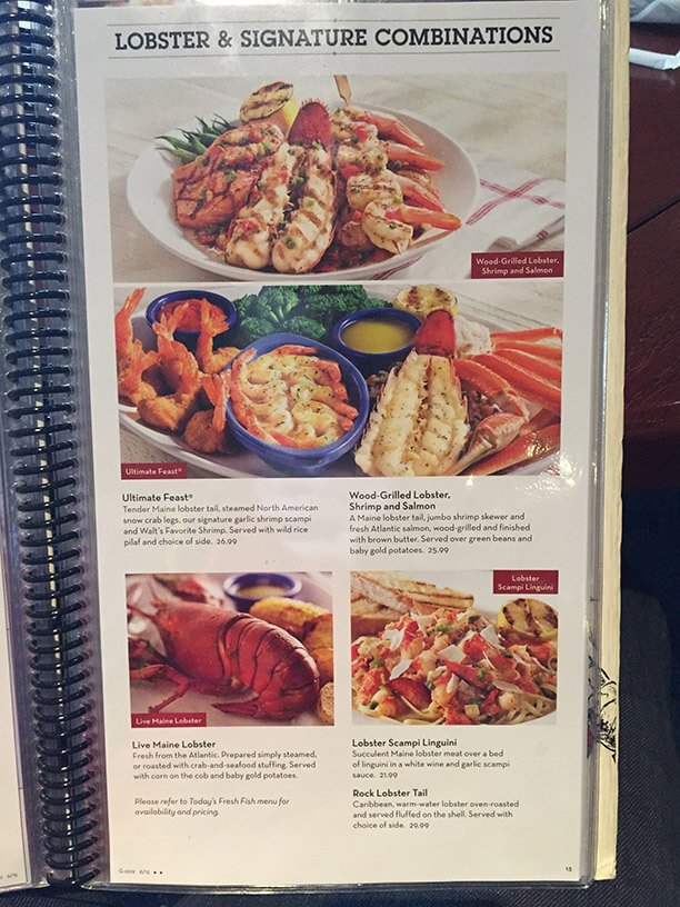 Red Lobster Menu Prices