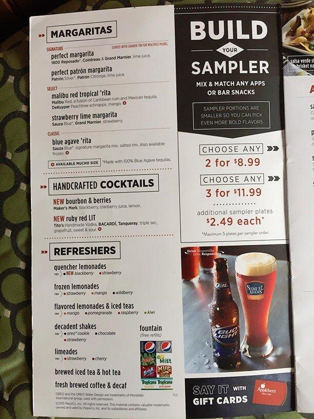 image regarding Applebee's Printable Menu titled Applebees menu toward shift menu - Suppliers provide republic tea