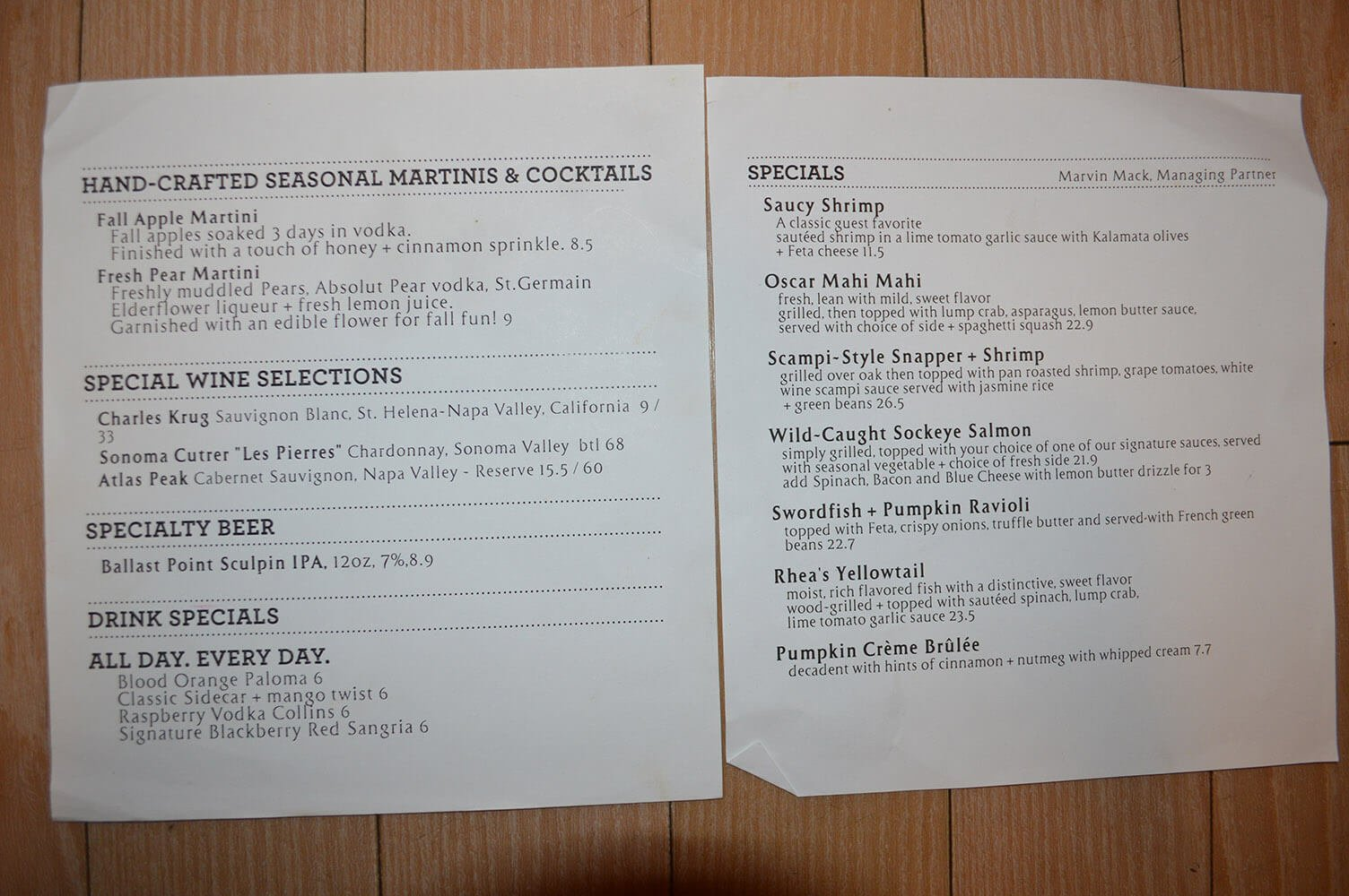 Bonefish Grill Menu – 1