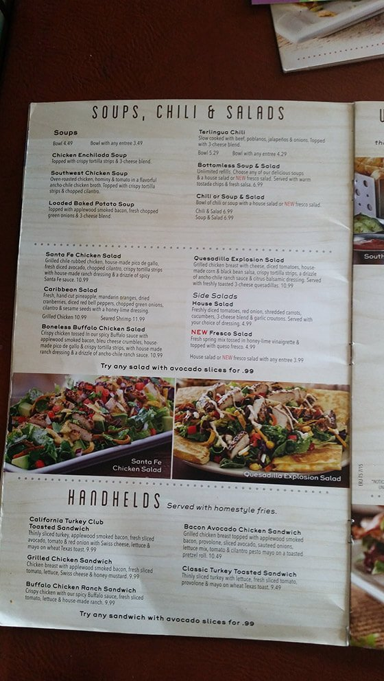 chili s menu prices