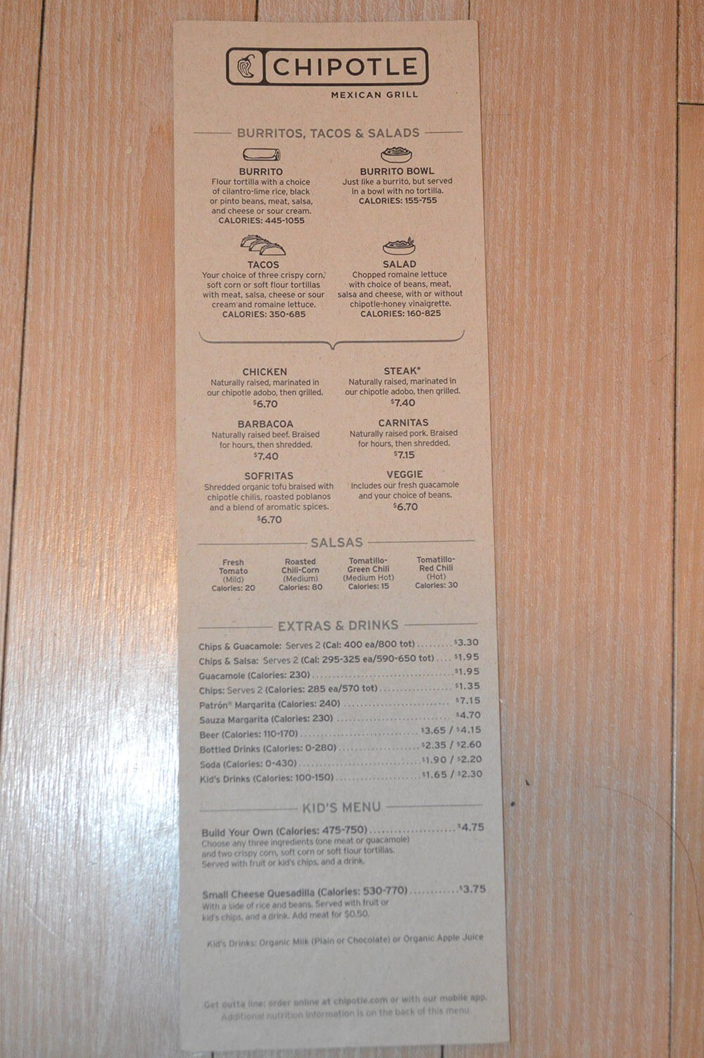image regarding Chipotle Printable Menu named Chipotle Menu Rates