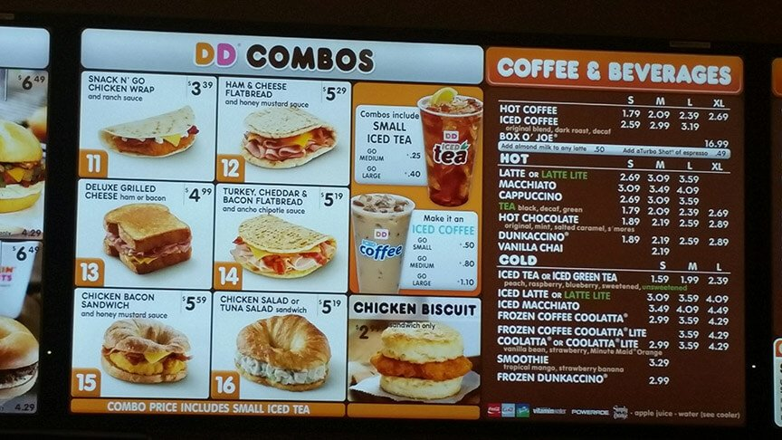Dunkin' Donuts Menu Prices 2017 | Meal Items, Details & Cost