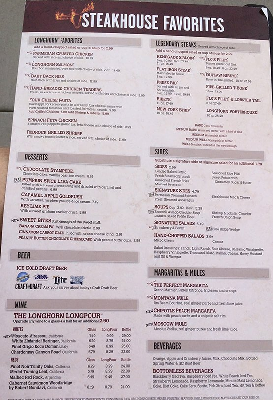 Longhorn Steakhouse Menu – 1