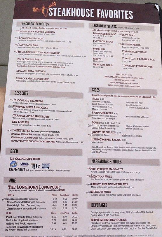 Longhorn Steakhouse Menu – 1