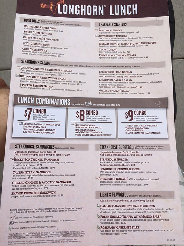 Longhorn Steakhouse Restaurant Menu