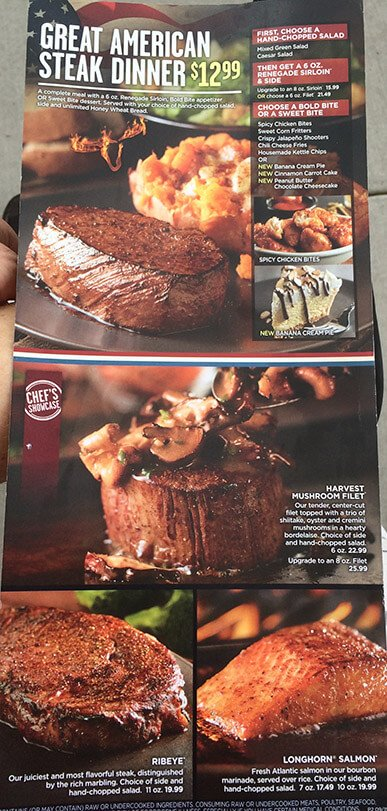 Longhorn Steakhouse Menu – 3