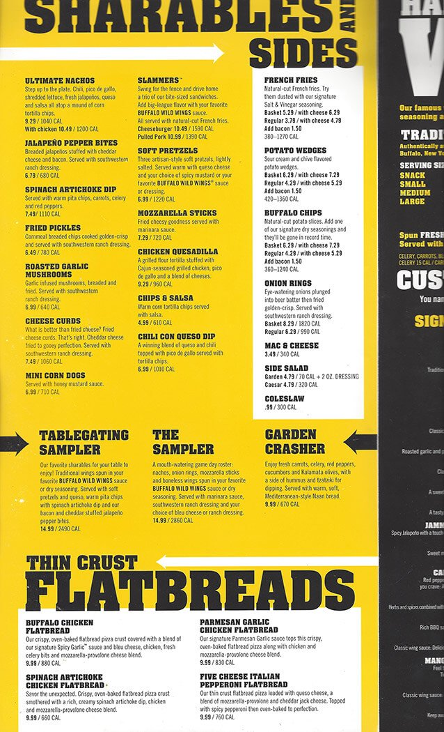 Buffalo Wild Wings Menu – 2