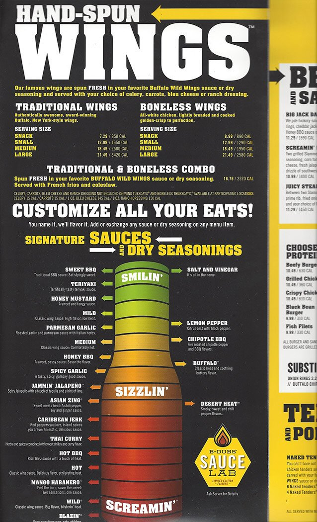 Buffalo Wild Wings Menu – 3