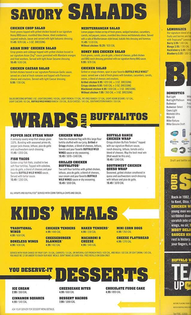 photo relating to Buffalo Wild Wings Printable Menu referred to as Menu and price ranges for buffalo wild wings - Miami florida