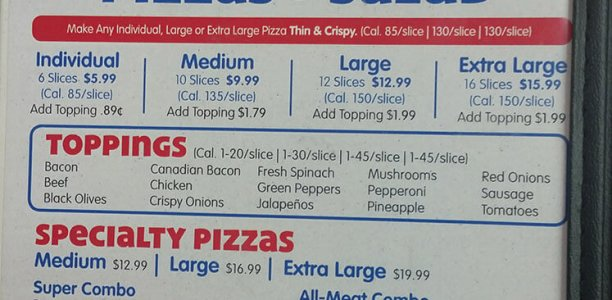 Chuck E Cheese's Menu – 1