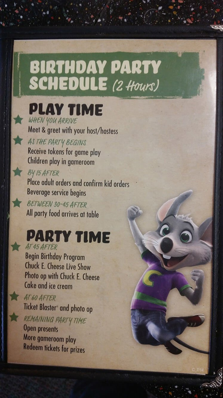 Chuck E Cheese's Menu – 4
