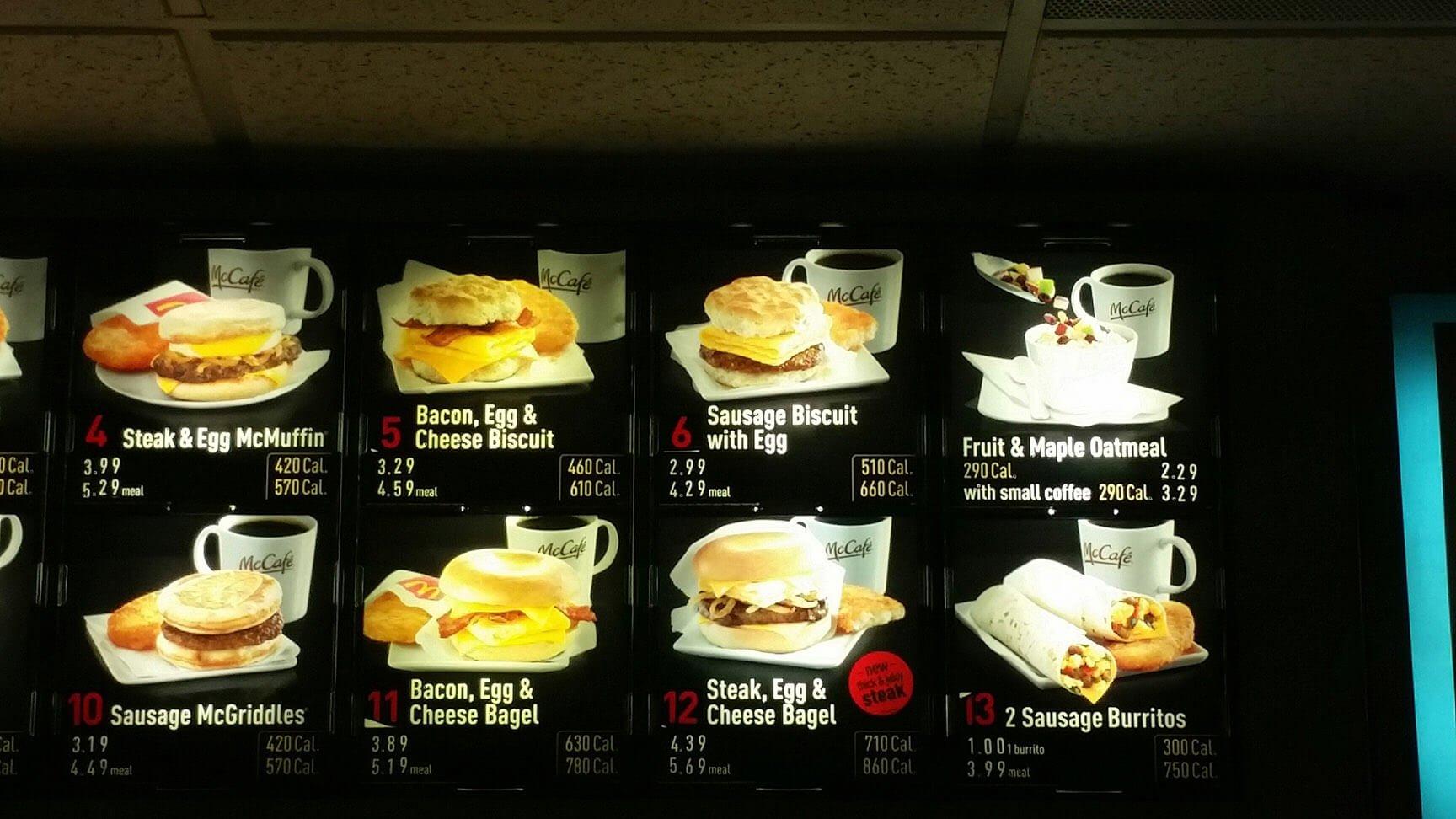 McDonalds Menu – 1