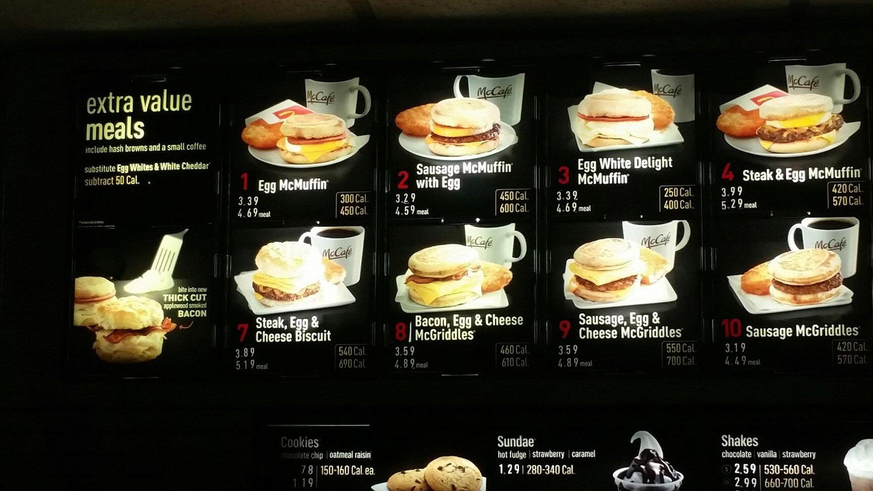 McDonalds Menu – 2
