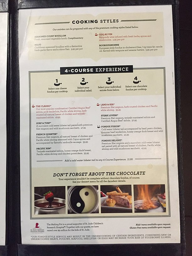melting pot menu prices 2017 meal items details cost