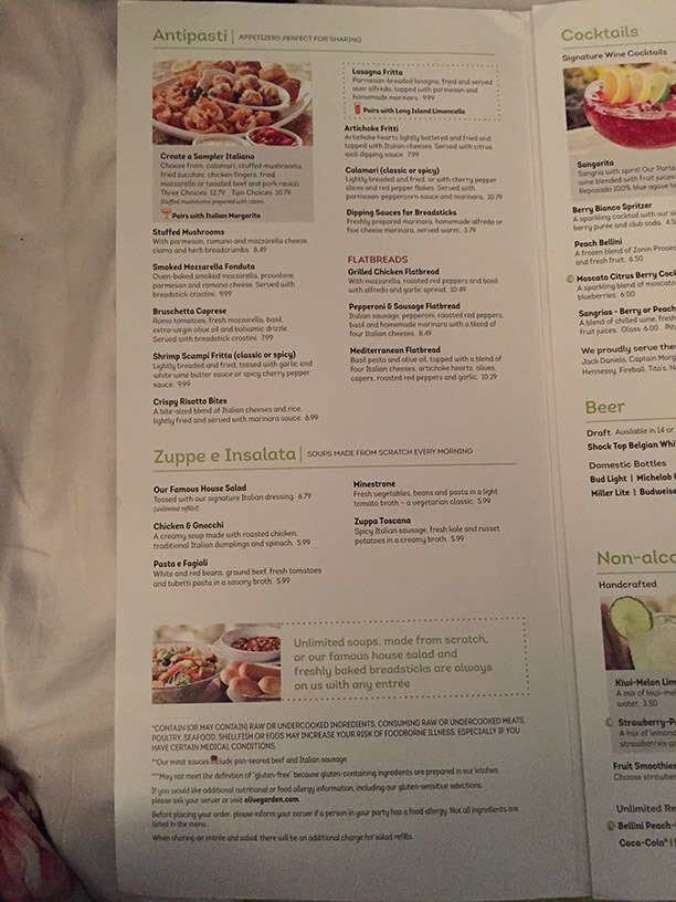 olive garden menu 2 - Olive Garden Menu And Prices