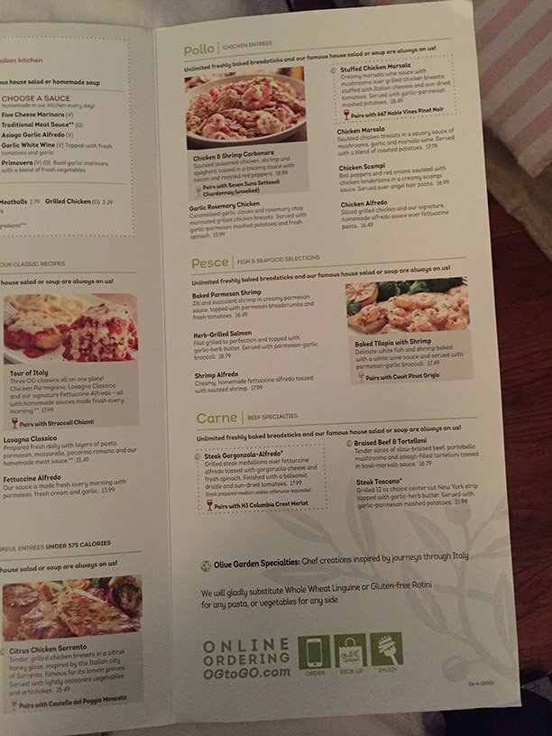 Olive Garden Menu Prices 2017 Meal Items Details Cost
