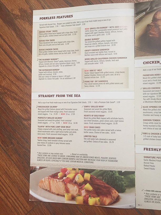 Outback Steakhouse Menu – 10