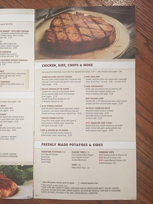 Outback Steakhouse Menu – 11