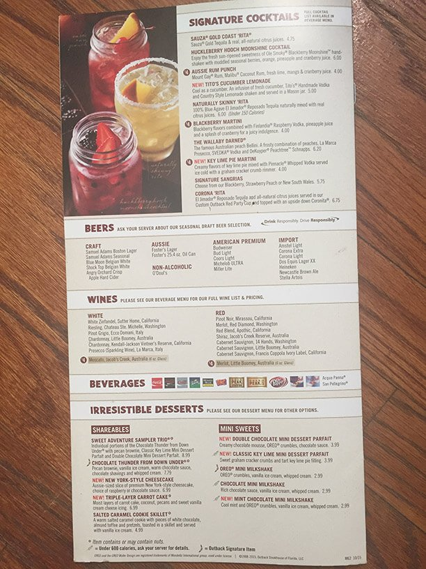 Outback Steakhouse Menu – 12