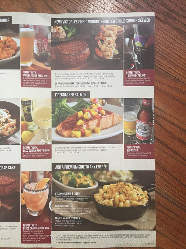 Outback Steakhouse Menu – 2