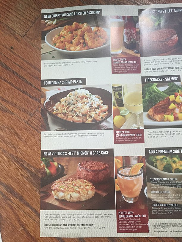 Outback Steakhouse Menu – 3