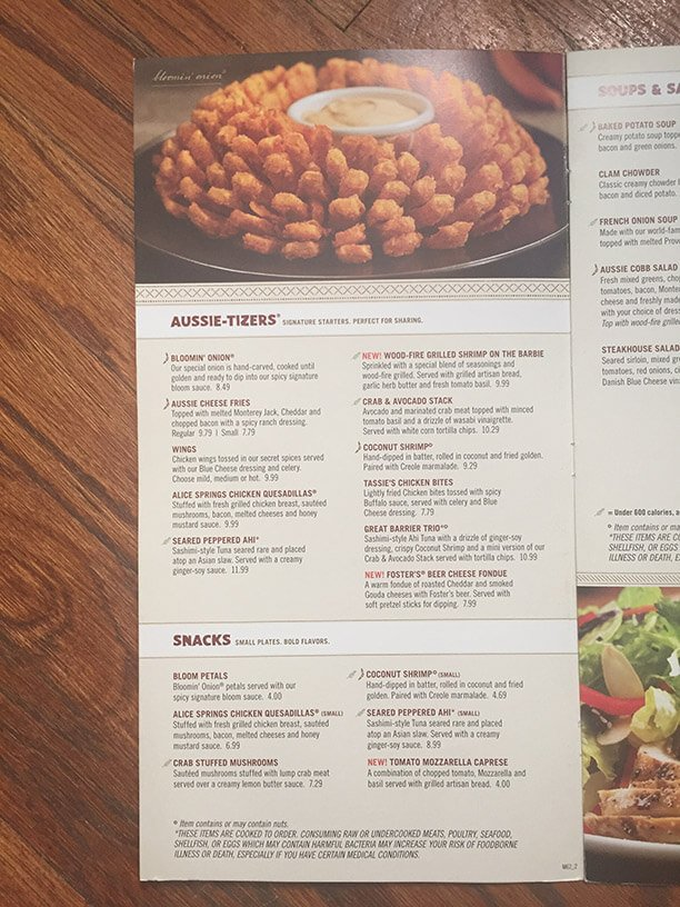 Outback Steakhouse Menu – 6