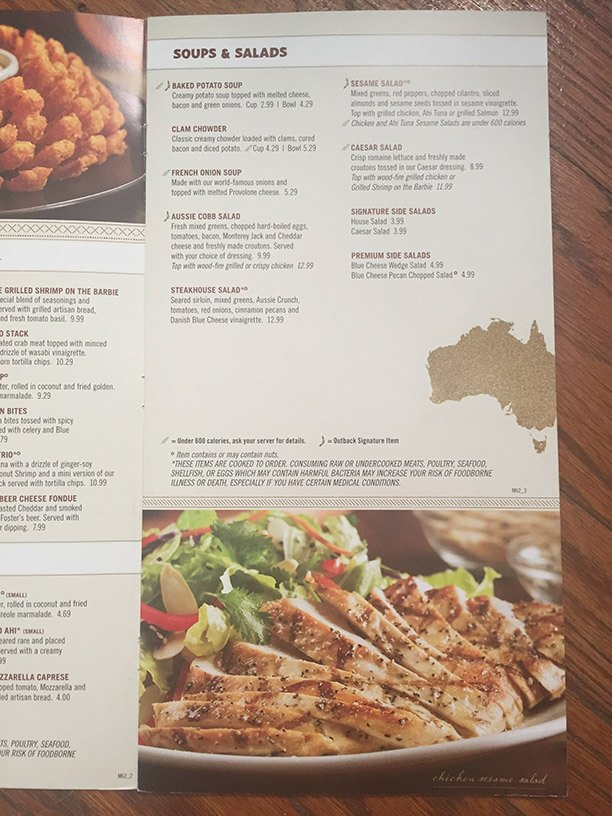Outback Steakhouse Menu – 7