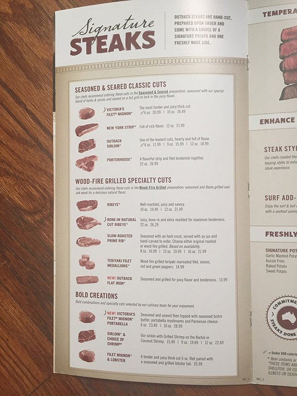 graphic regarding Outback Printable Menu called Outback steakhouse menu charges 2018 : September 2018 Wholesale