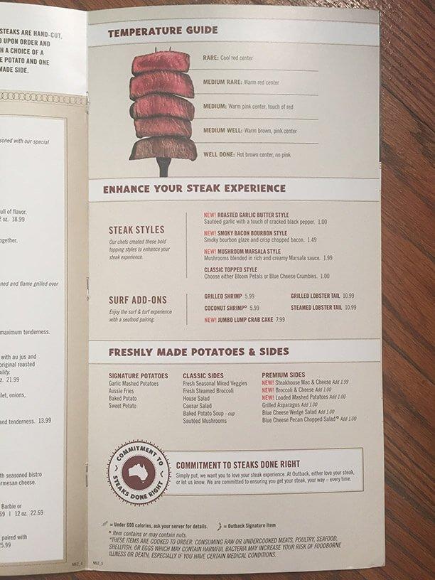 Outback Steakhouse Menu – 9