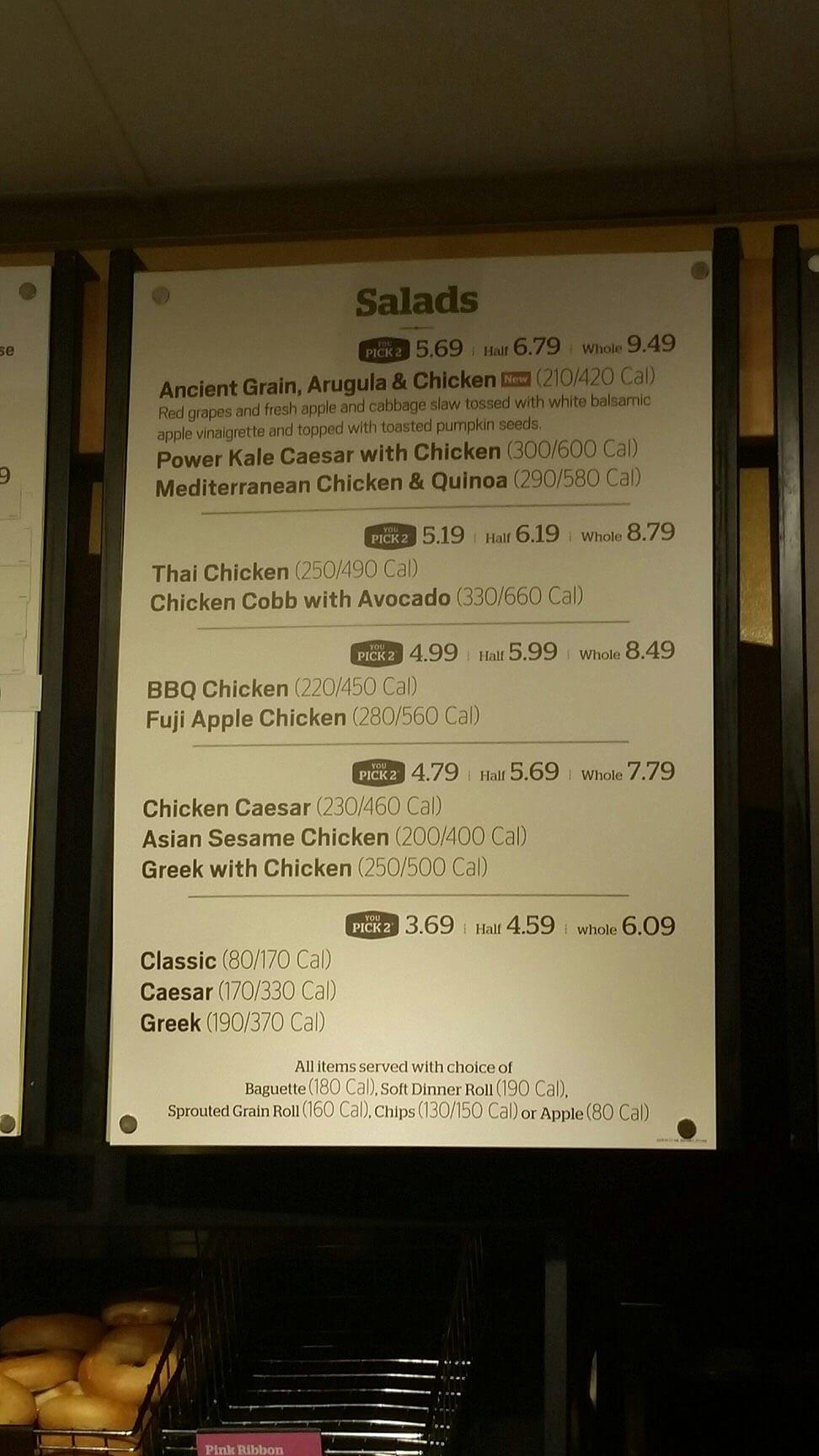 panera bread menu prices