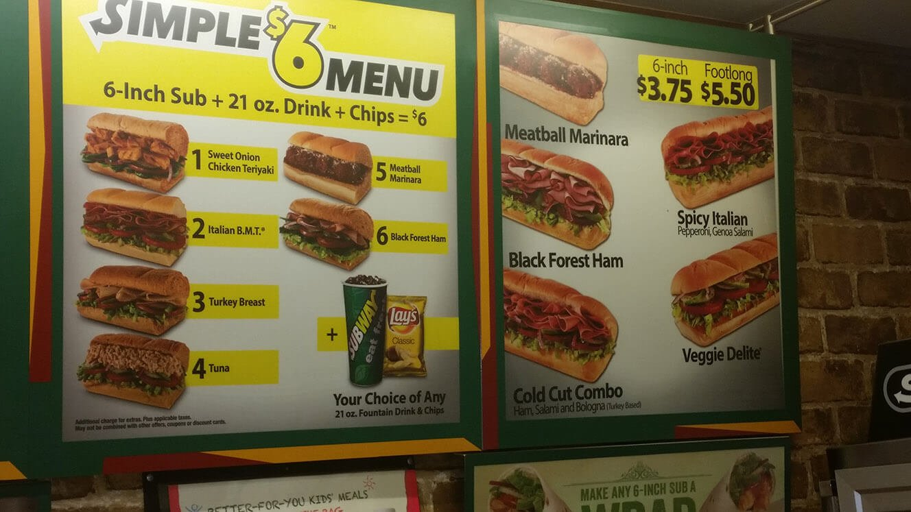 6 inch value meal subway