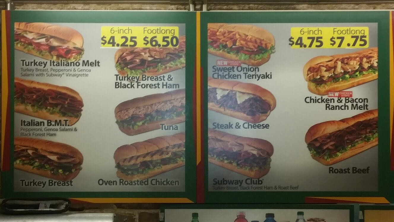 Subway Menu – 2