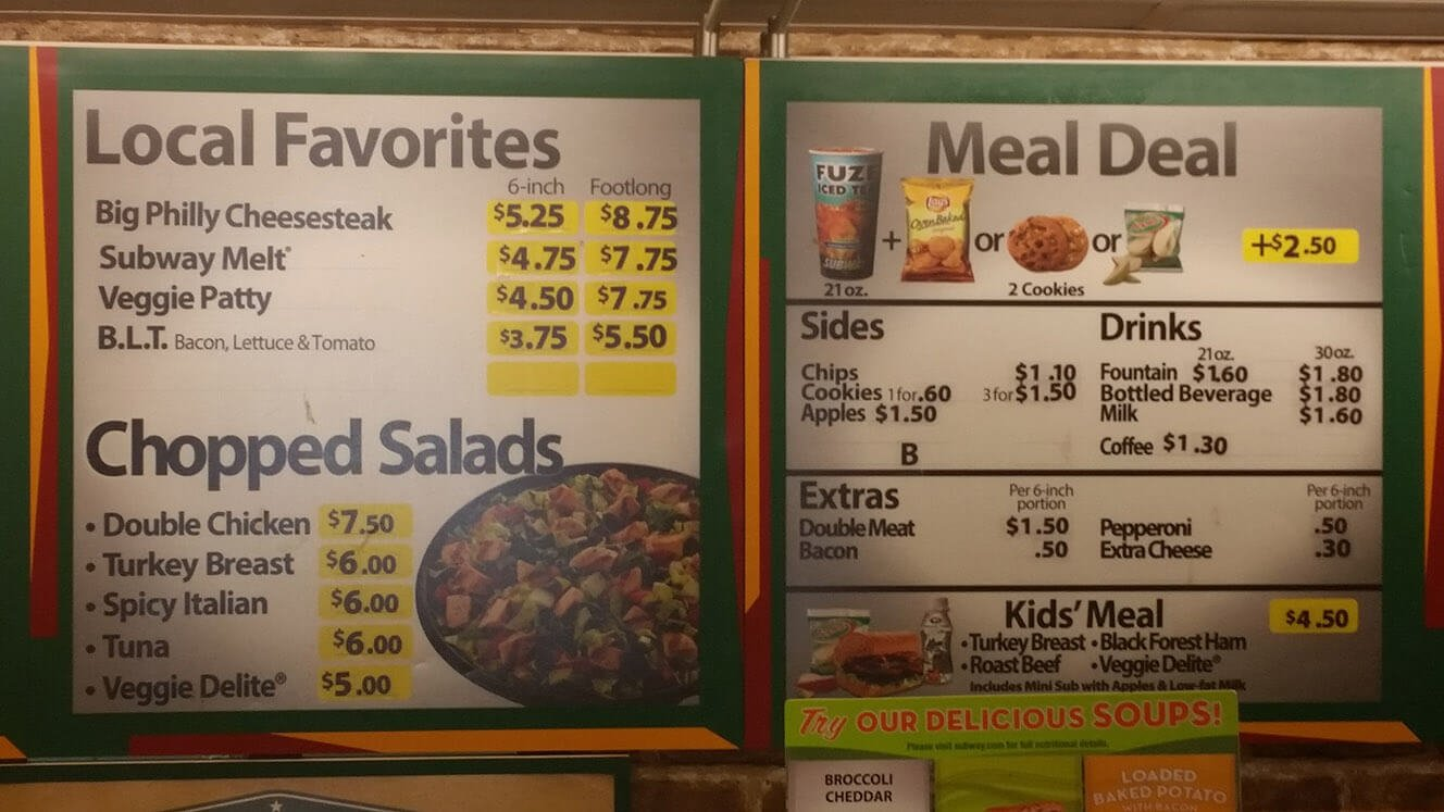 Subway Menu – 3