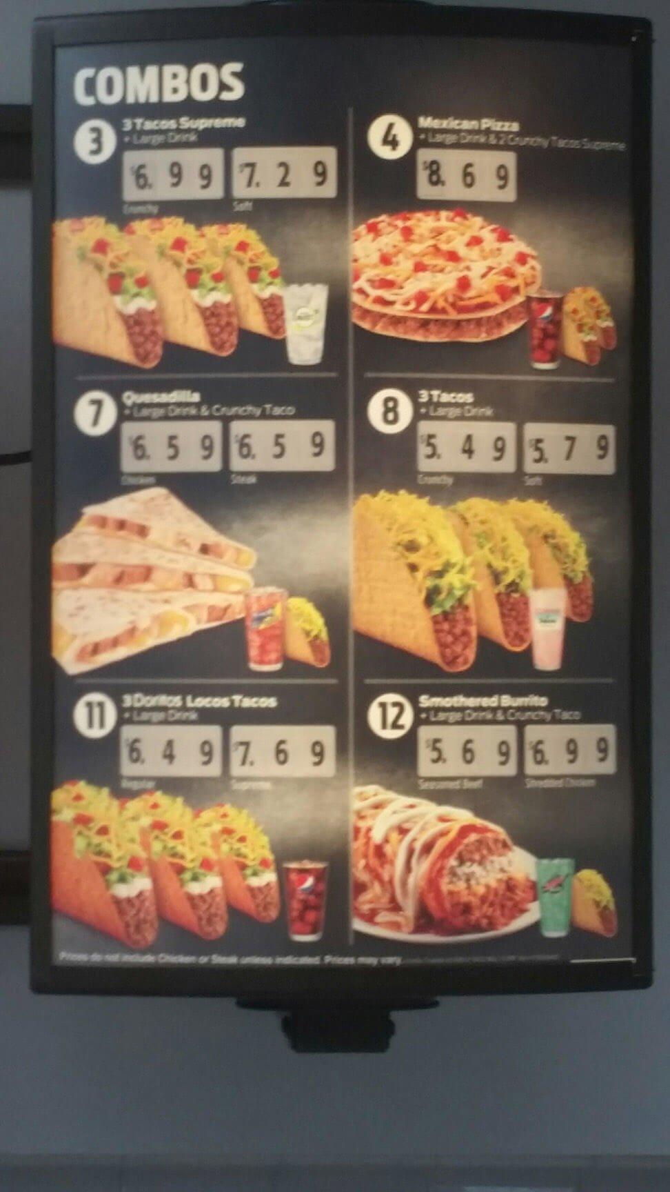 taco bell menu prices