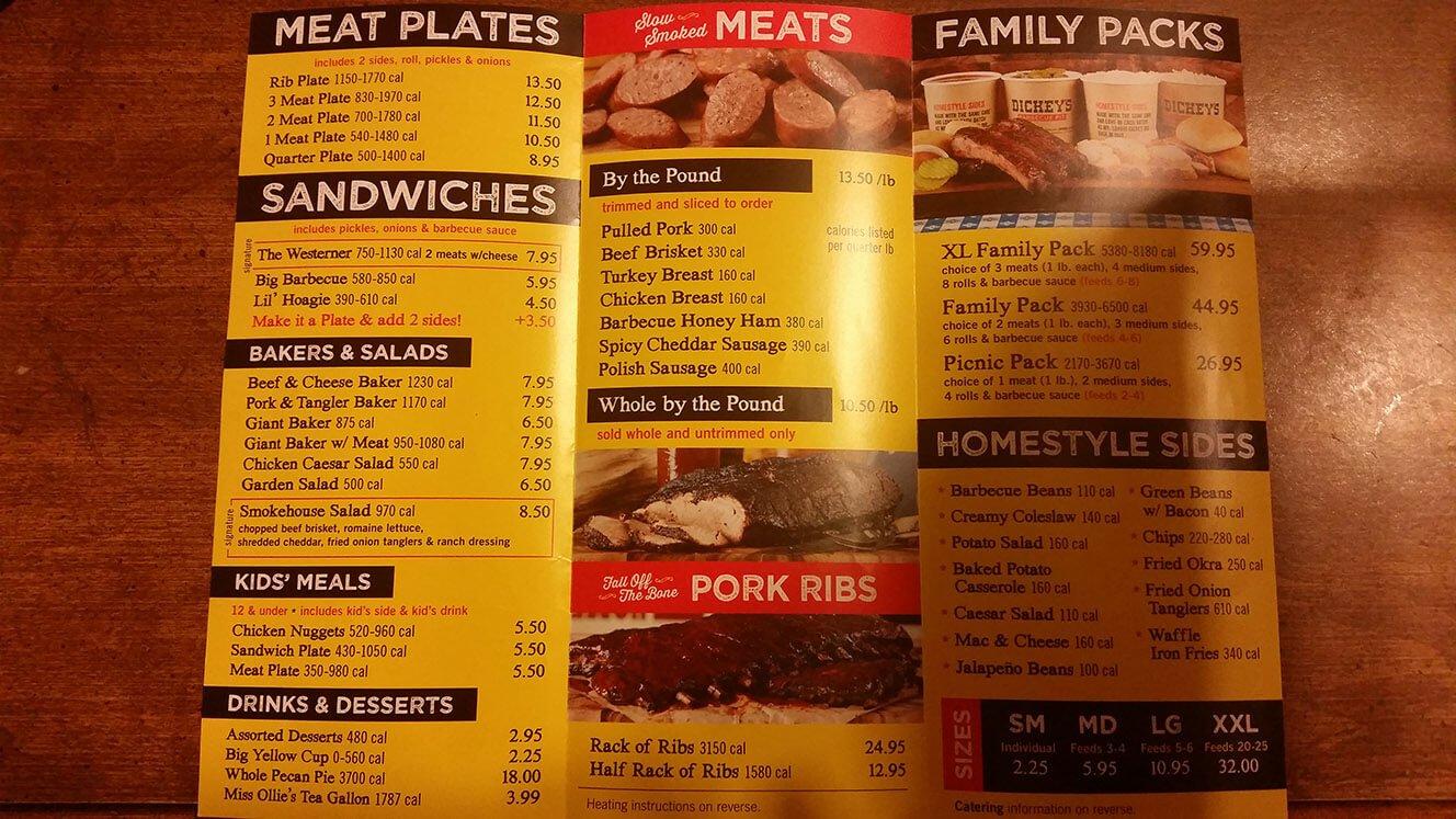 dickey's bbq menu prices