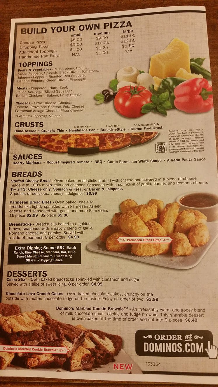 Dominos Menu – 1