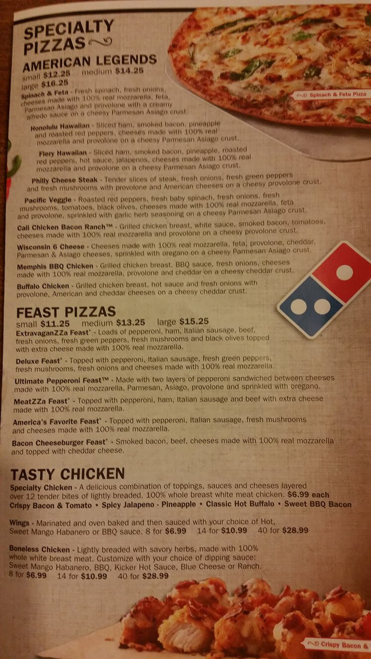 Dominos Menu – 2