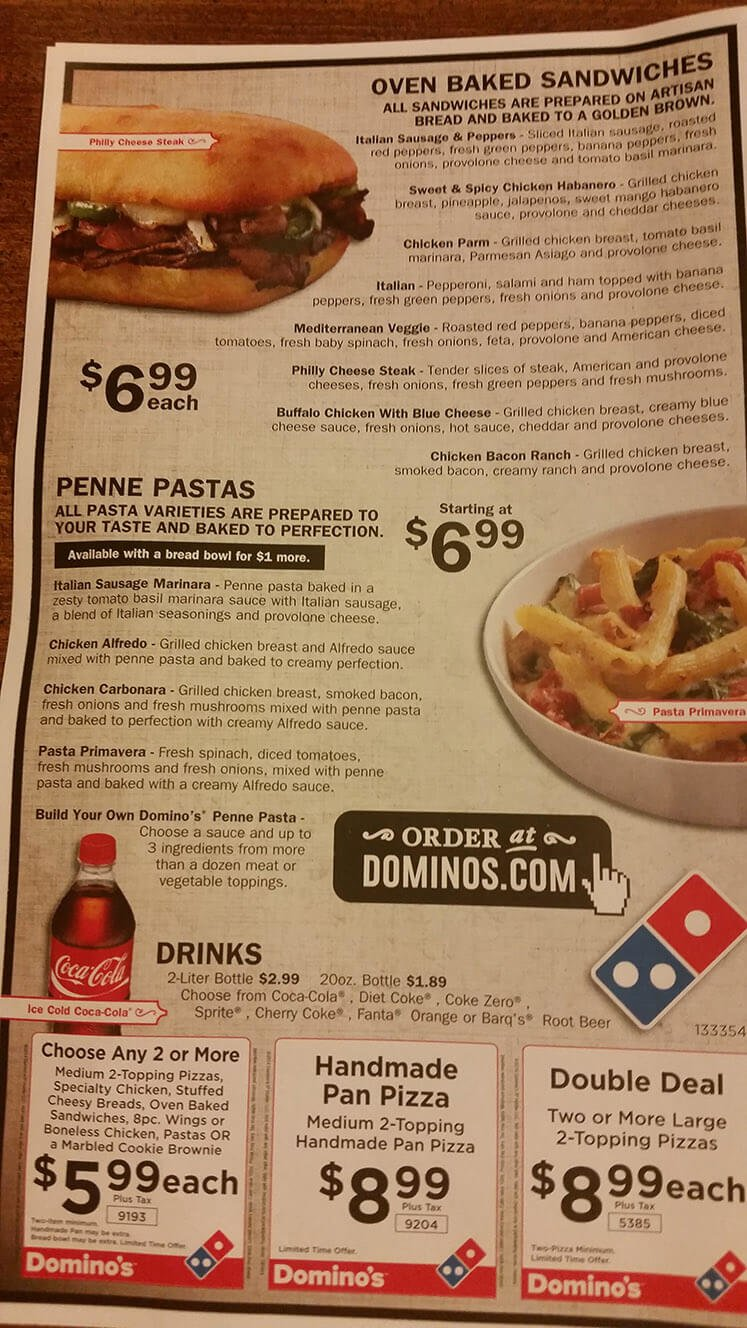 Dominos Menu – 3
