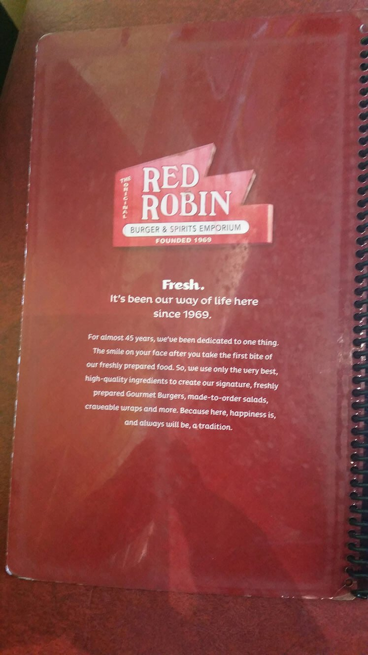 Red Robin Menu – 2