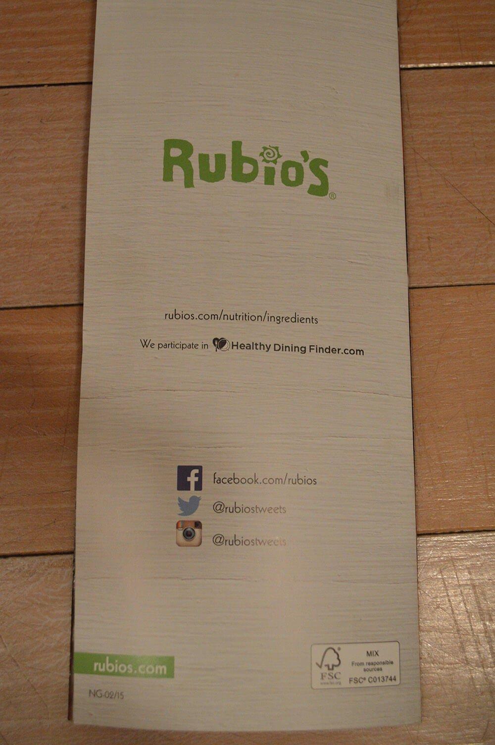 Rubios Menu – 9