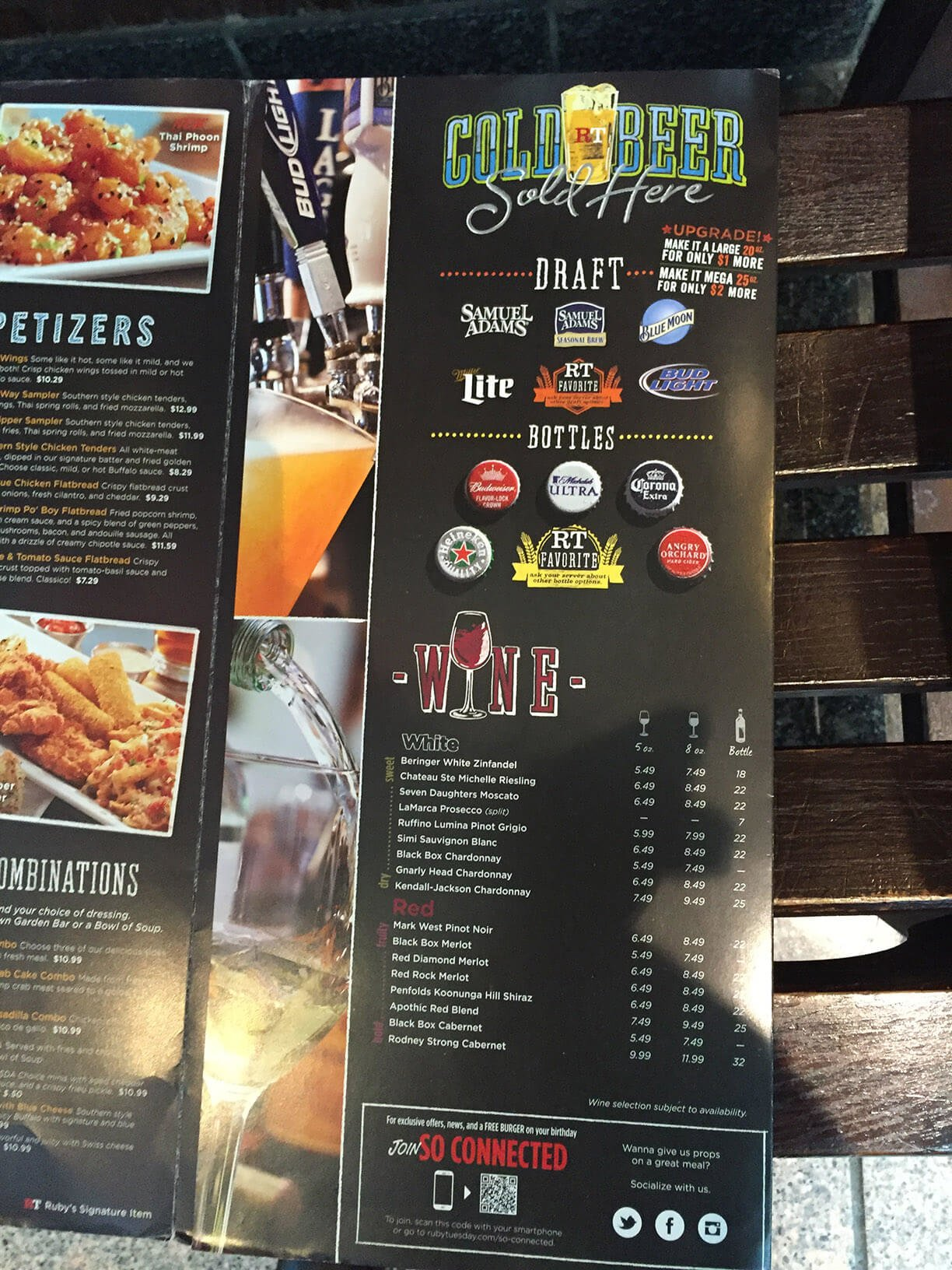 Ruby Tuesday Drink Menu With Prices
