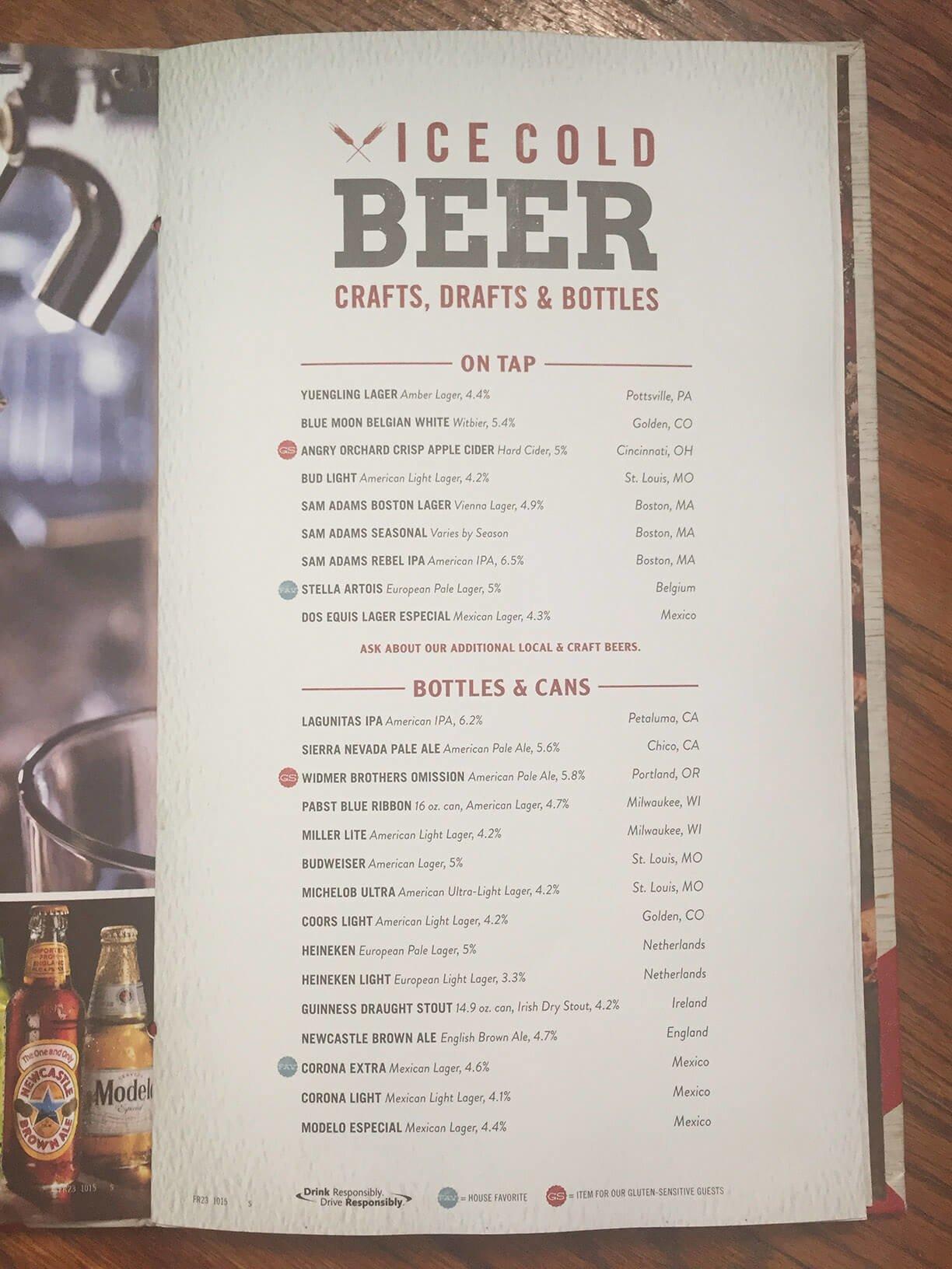 tgi fridays menu prices