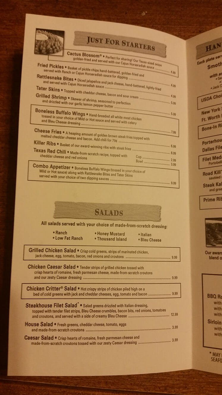 Texas Roadhouse Menu – 2