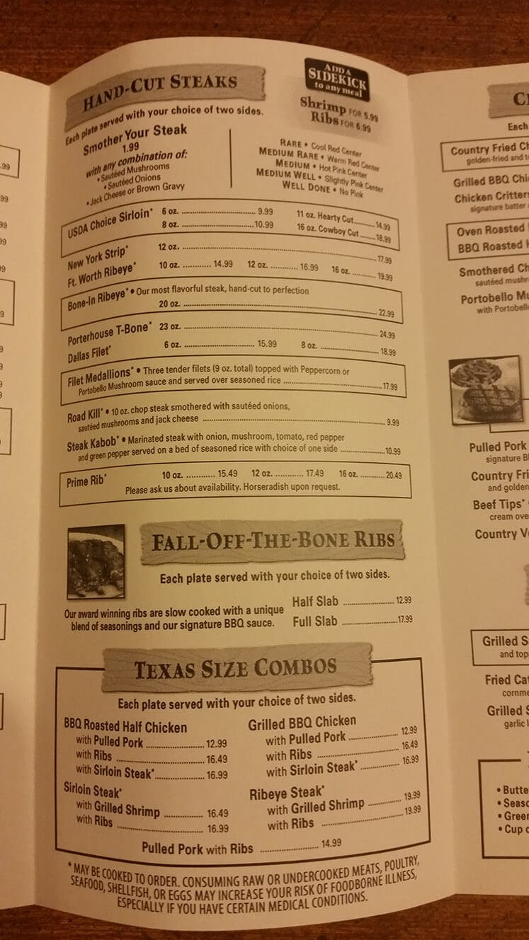 Texas Roadhouse Menu – 3