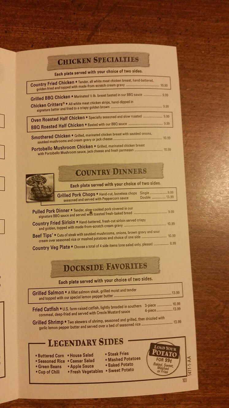 Texas Roadhouse Menu – 4