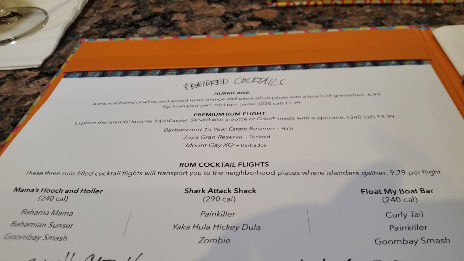 Bahama Breeze Menu – 1