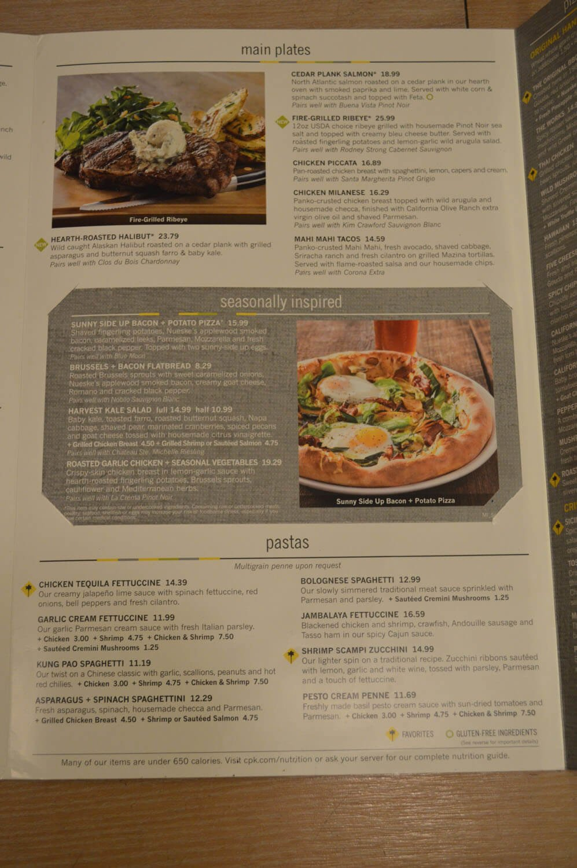 California Pizza Kitchen Menu california kitchen menu. photo of california pizza kitchen