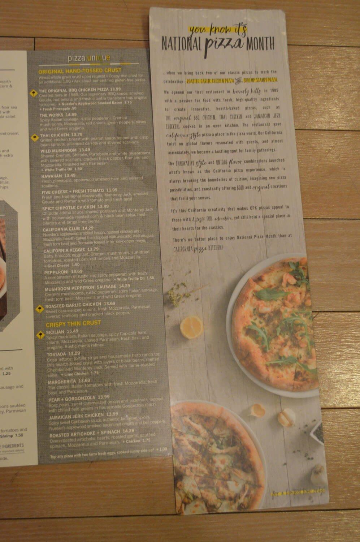 California Pizza Kitchen Menu And Prices