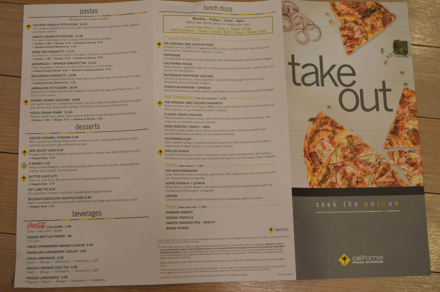 California Pizza Kitchen Menu Prices 2017