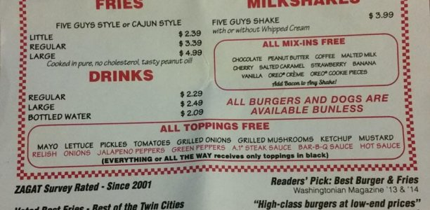Five Guys Menu – 1